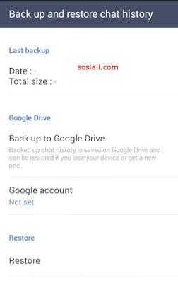 Backup chat line ke Google Drive